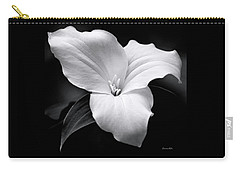 Carry-all Pouch featuring the photograph Trillium Black And White by Christina Rollo