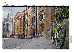 Carry-all Pouch featuring the photograph Trinity Lane Clare College Cambridge Great Hall by Gill Billington