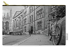Carry-all Pouch featuring the photograph Trinity Lane Clare College Great Hall In Black And White by Gill Billington
