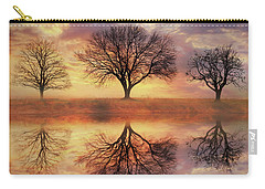Carry-all Pouch featuring the mixed media Trio Of Trees by Lori Deiter