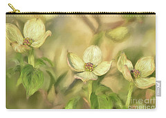 Carry-all Pouch featuring the digital art Triple Dogwood Blossoms In Evening Light by Lois Bryan