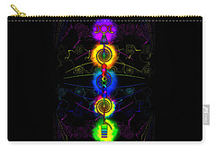 Carry-all Pouch featuring the digital art Triple Moon Goddess Totem by Iowan Stone-Flowers