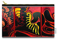 Carry-all Pouch featuring the painting Triptych Abstract Vision by Jolanta Anna Karolska