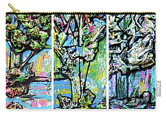 Carry-all Pouch featuring the painting Triptych Of Three Trees By A Brook by Genevieve Esson