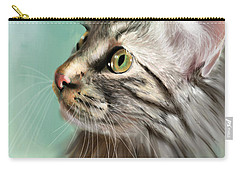 Trixie The Maine Coon Cat Carry-all Pouch by Angela Murdock
