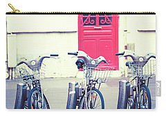 Carry-all Pouch featuring the photograph Trois - Three Bicycles In Paris by Melanie Alexandra Price