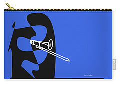 Trombone In Blue Carry-all Pouch by David Bridburg