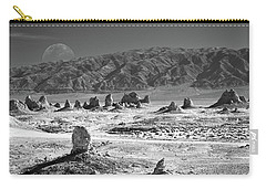 Trona Pinnacles With The Moon Carry-all Pouch by Marius Sipa