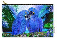Tropic Spirits - Hyacinth Macaws Carry-all Pouch by Carol Cavalaris