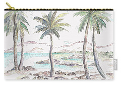 Carry-all Pouch featuring the digital art Tropical Island by Elizabeth Lock