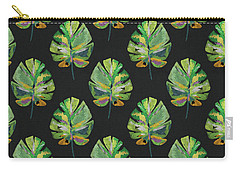 Carry-all Pouch featuring the mixed media Tropical Leaves On Black- Art By Linda Woods by Linda Woods