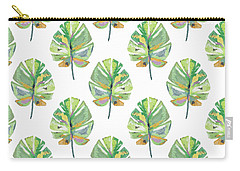 Carry-all Pouch featuring the mixed media Tropical Leaves On White- Art By Linda Woods by Linda Woods