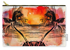 Carry-all Pouch featuring the digital art Tropical Seascape Digital Art C7717 by Mas Art Studio