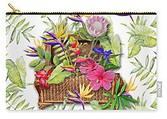 Tropicals In A Basket Carry-all Pouch by Larry Bishop