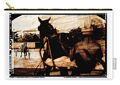Carry-all Pouch featuring the photograph trotting 1 - Harness racing in a vintage post processing by Pedro Cardona