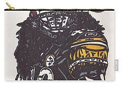 Carry-all Pouch featuring the drawing Troy Polomalu 1 by Jeremiah Colley