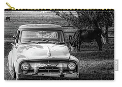 Truck And Cows Living Together Bw Carry-all Pouch