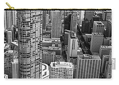 Trump Tower And John Hancock Aerial Black And White Carry-all Pouch by Adam Romanowicz