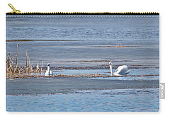 Carry-all Pouch featuring the photograph Trumpeter Swans 0933 by Michael Peychich