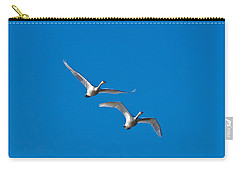 Carry-all Pouch featuring the photograph Trumpeter Swans 1735 by Michael Peychich