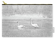 Carry-all Pouch featuring the photograph Trumpeter Swan's Winter Rest Gray by Jennie Marie Schell