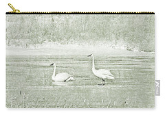 Carry-all Pouch featuring the photograph Trumpeter Swan's Winter Rest Green by Jennie Marie Schell