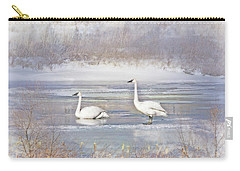 Carry-all Pouch featuring the photograph Trumpeter Swan's Winter Rest by Jennie Marie Schell