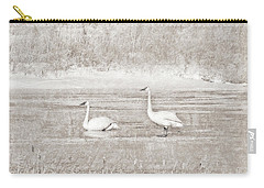 Carry-all Pouch featuring the photograph Trumpeter Swan's Winter Rest Beige by Jennie Marie Schell