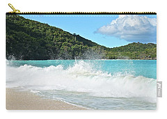 Carry-all Pouch featuring the photograph Trunk Bay Waves Crash Hard by Frozen in Time Fine Art Photography