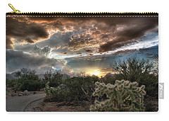 Carry-all Pouch featuring the photograph Tucson Mountain Sunset by Lynn Geoffroy