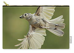 Tufted Titmouse In Flight Carry-all Pouch by Alan Lenk