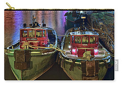 Carry-all Pouch featuring the photograph Tug Boats At Night by Frozen in Time Fine Art Photography