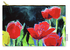 Carry-all Pouch featuring the painting Tulip Bed At Dark by Kathy Braud