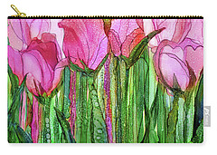 Carry-all Pouch featuring the mixed media Tulip Bloomies 1 - Pink by Carol Cavalaris