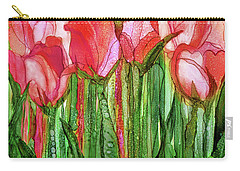 Carry-all Pouch featuring the mixed media Tulip Bloomies 1 - Red by Carol Cavalaris