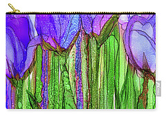 Carry-all Pouch featuring the mixed media Tulip Bloomies 2 - Purple by Carol Cavalaris