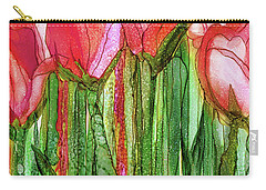 Carry-all Pouch featuring the mixed media Tulip Bloomies 2 - Red by Carol Cavalaris
