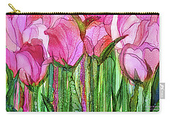 Carry-all Pouch featuring the mixed media Tulip Bloomies 3 - Pink by Carol Cavalaris