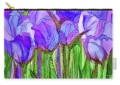 Carry-all Pouch featuring the mixed media Tulip Bloomies 3 - Purple by Carol Cavalaris
