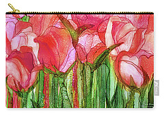 Carry-all Pouch featuring the mixed media Tulip Bloomies 3 - Red by Carol Cavalaris