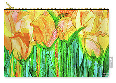 Carry-all Pouch featuring the mixed media Tulip Bloomies 3 - Yellow by Carol Cavalaris