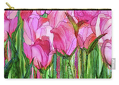 Carry-all Pouch featuring the mixed media Tulip Bloomies 4 - Pink by Carol Cavalaris