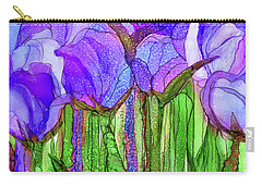 Carry-all Pouch featuring the mixed media Tulip Bloomies 4 - Purple by Carol Cavalaris
