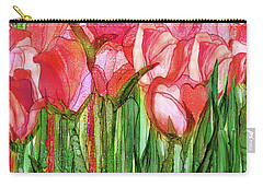 Carry-all Pouch featuring the mixed media Tulip Bloomies 4 - Red by Carol Cavalaris