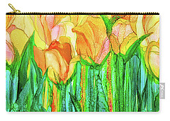 Carry-all Pouch featuring the mixed media Tulip Bloomies 4 - Yellow by Carol Cavalaris