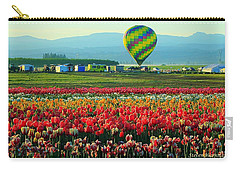 Tulip Field And Hot Air Balloon Carry-all Pouch by Steve Warnstaff