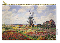 Tulip Fields With The Rijnsburg Windmill Carry-all Pouch by Claude Monet