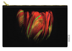 Tulip Flower On Black Background Abstract Carry-all Pouch