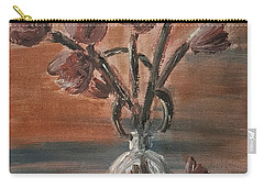 Tulip Flowers Bouquet In Two Round Water Filled Small Globe Shaped Vases On A Table Still Life Of Bo Carry-all Pouch