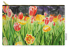 Carry-all Pouch featuring the painting Tulip Garden In San Francisco by Irina Sztukowski